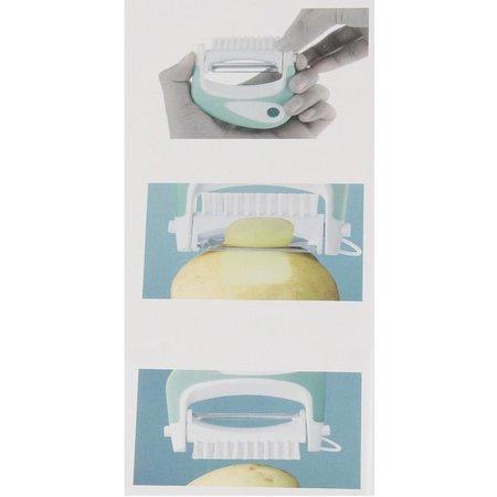 Banzaa Enrico Multi Peeler 3 in 1 Aardappel Tool RVS Rood – 8x9cm | Dunschiller Borstel en Ontpitter in 1 | Schilmesje met Roestvrijstalen Mesjes