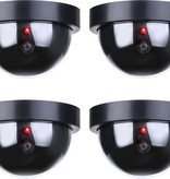 Banzaa Premium 4x Dummy LED Beveiligingscamera Set met Bewegingssensoren – 12x8cm – Zwart – 4 Stuks | Draadloze Nepcamera Met Rode Led op Batterijen | Knipperende Camera Beveiliging Voor Binnen en Buiten | Buitencamera | CCTV Dome Bewakingscamera