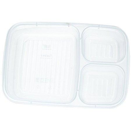 Banzaa Lunch box met Deksel 1,2 Liter – Voedselbak – Vaatwasser Geschikt – Met drie vakken – Oudroze