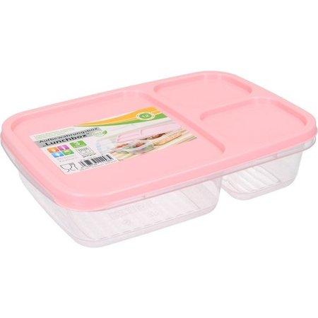 Banzaa Lunchbox met Deksel 1,2 Liter – Voedselbak – Vaatwasser Geschikt – Met drie Vakken – Roze