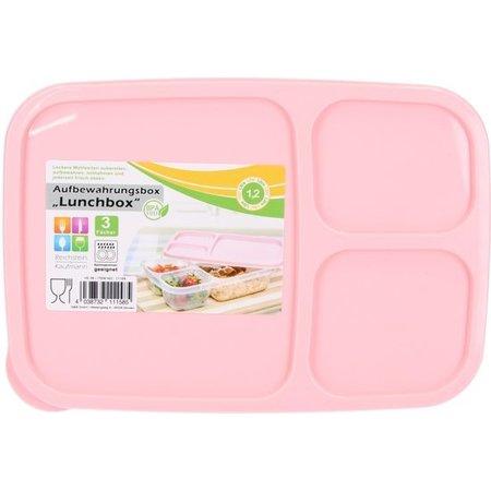 BDO Lunchbox met Deksel 1,2 Liter – Voedselbak – Vaatwasser Geschikt – Met drie Vakken – Roze