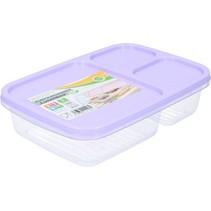 Lunchbox met Deksel 1,2 liter – Voedselbak – Vaatwasser Geschikt – Met drie Vakken – Paars
