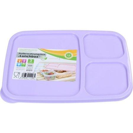 Banzaa Lunchbox met Deksel 1,2 liter – Voedselbak – Vaatwasser Geschikt – Met drie Vakken – Paars