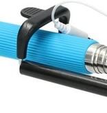 Banzaa Blauwe Bekabelde Selfie Stick met Sluiterknop - Direct Klaar voor Gebruik - Werkt zonder Bluetooth | Geschikt voor alle Iphones en Galaxy S3 en Hoger