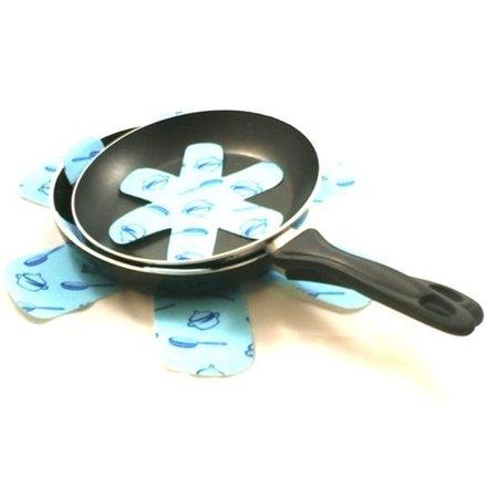 Banzaa Panbeschermers Vilt Set 6 Stuks – Drie Formaten 18 cm 28 cm 38 cm – Bescherm de Anti Aanbaklaag van uw Pan – Blauw