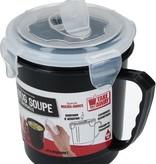Banzaa Zwarte Magnetron Soepbeker met Ontluchtingsfilter – 12x8cm   Magnetron Bestendige Beker voor het Bereiden van Soep