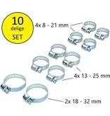 BDO 10 Delige Slangklemmen set 3 maten | Klemmen Set voor om de Tuinslang Afvoerslang of Doucheslang Verschillende Formaten | Slang Koppeling Klem