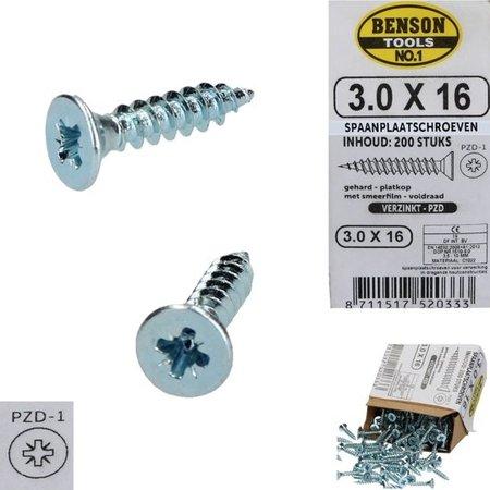 Benson Benson Tools Spaanplaatschroeven 200 Stuks Verzinkt – 3.0x16mm | Spaanplaat Schroeven voor Verwerking in Dragende Houtcconstructies