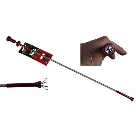 Hofftech Flexibele Pick up Tool met LED om Spullen uit Moeilijk Bereikbare Plaatsen te Halen Rood – 60cm   Multifunctionele Grijper voor het Oppakken van Kleine Objecten