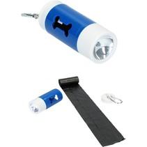 Honden Poepzakjes in Houder met LED Zaklamp  20 zakjes Blauw
