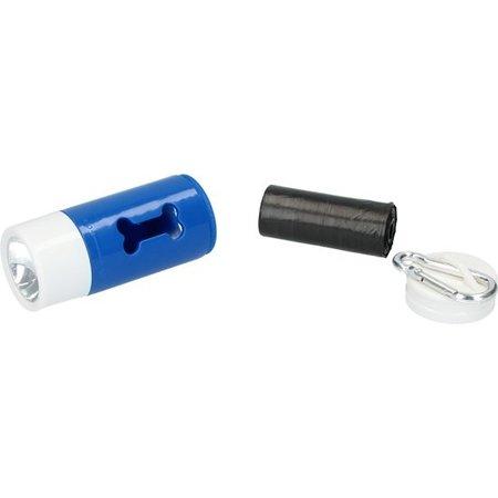 Benson Honden Poepzakjes in Houder met LED Zaklamp – 20 zakjes – Verlichting en Zakjes – Blauw