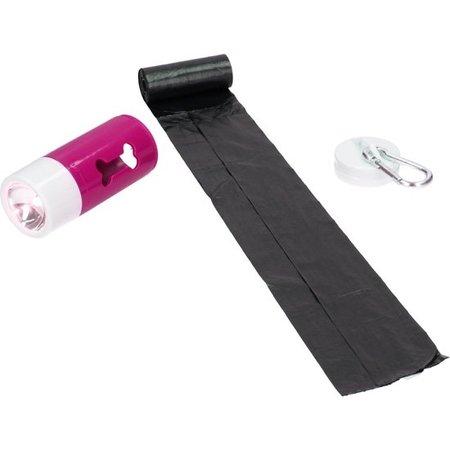 Benson Honden Poepzakjes in Houder met LED Zaklamp – 20 zakjes – Verlichting en Zakjes – Roze
