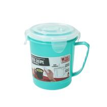 Turquoise Magnetron Soepbeker met Ontluchtingsfilter – 13x11cm | Magnetron Bestendige Beker voor het Bereiden van Soep