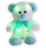 Sunkid Sunkid - Teddybeer met ledlampjes - 30 cm - Licht gevende beer - Wit-Blauw