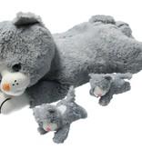 Sunkid Sunkid Pluche moederpoes 2 Kittens Knuffeldier 40cm