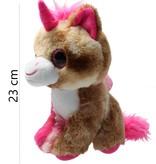 Girlie paws Girlie Paws pluche eenhoorn met roze Hoorn 23cm