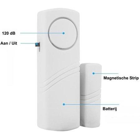 Banzaa Premium 4x Draadloos Inbraakalarm Set met Magnetische Sensoren – 4 Stuks – Wit – 90 dB  | Deur en Raam Beveiliging | Inbraakalarmsysteem| Woningbeveiliging | Waarschuwings Alarm Tegen Inbrekers en Indringers