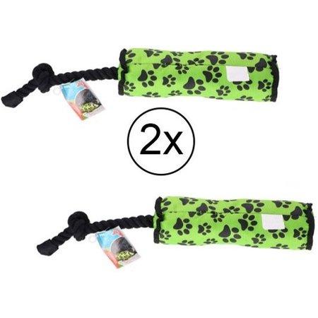 Banzaa Honden speeltouw - flostouw - groen - 47,5 x 7,5 cm - set van 2 stuks