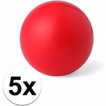 5 rode anti stressballetjes 6 cm - stressbal