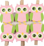 Banzaa Premium 6-Pack Uilen Kaartknijpers - Roze Groen - 5x3x1cm | Knijpertjes om Kaarten op te Hangen