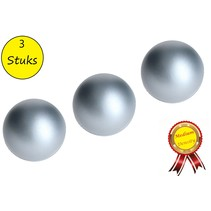 Banzaa Stressbal set 3 stuks Medium Density 6cm Zilver