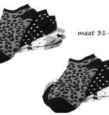 Banzaa Banzaa Sneaker sokken Multipack 6 paar Meisjes Enkelsokken 31-34