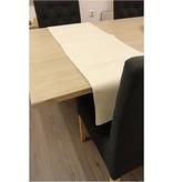 Banzaa Tafelloper Leerlook -Tafelkleed - tafelbescherming - Wit / Creme - 148 cm x 43 cm.