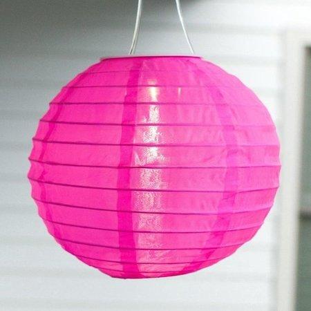 Banzaa Premium Snoerloze Roze LED Solar Lampionnen Set – 3 Stuks x 58cm - Ø28cm | Grote Tuin Lampionnen met Zonnepaneel en Lichtsensor | Lampion Tuinverlichting op Zonne-energie | Lampion Feestverlichting | Tuinverlichting | Buitenverlichting | Roze