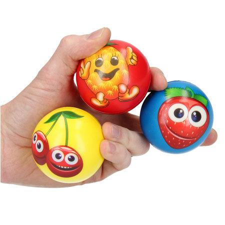 Banzaa Stressbal Hard Density – 6 cm – Sensomotorische Stimulatie – Anti Stress – 3 stuks – Met Afbeelding Fruit