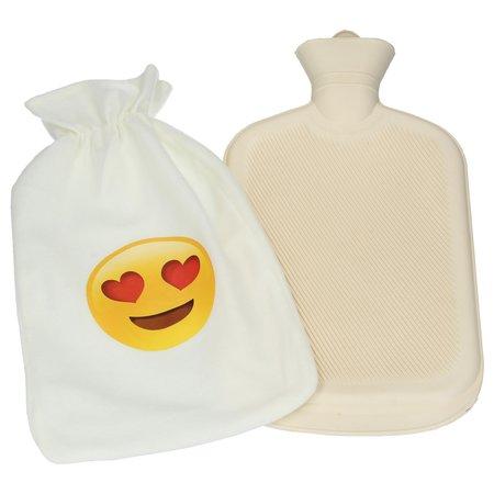 Banzaa Warmwaterkruik met Zachte Overcoat – Kruik extra Zacht Wit – Wit Emoji Love