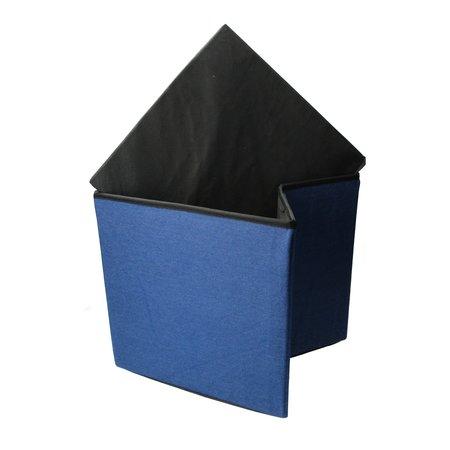 Present Time Present Time Denim Poef – Vouwbaar – Vierkante Poef met Opbergruimte 38cm – Blauw