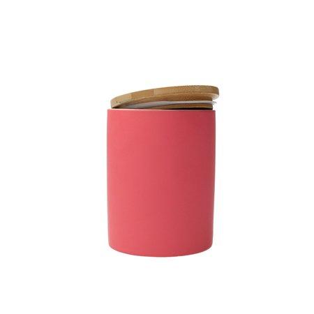 Present Time Pt, Voorraadpot Silk neon pink large - Keramiek - Roze
