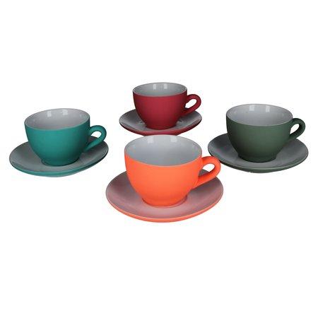Present Time Present Time Theekopje met Schoteltje Porselein Rubber Coated Ceramic – Set 6 Stuks – Silk Neonroze