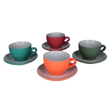 Present Time Present Time Theekopje met Schoteltje Porselein Rubber Coated Ceramic – Set 6 Stuks – Silk Vergrijst groen