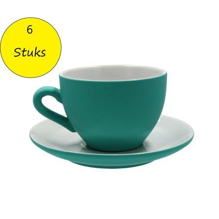 Present Time Present Time Theekopje met Schoteltje Porselein Rubber Coated Ceramic – Set 6 Stuks – Silk Zeegroen