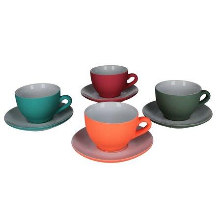 Present Time Present Time Theekopje met Schoteltje Porselein Rubber Coated Ceramic – Set 6 Stuks – Silk Neonoranje