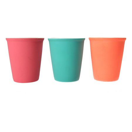 Present Time Present Time Cappuccino kop met Rubber Keramische Coating – Set 6 Stuks – Koffie Mok – Kopje – Silk Neon Roze