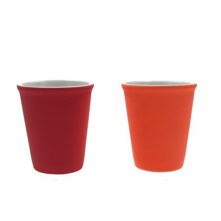 Present Time Present Time Espresso Kopje Porselein Rubber Coated Ceramic – Koffiekopje Set 6 Stuks – Espresso Beker – Silk Neon Pink