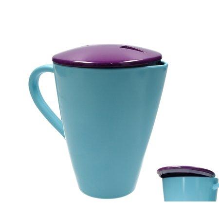 Present Time Present Time Waterkan of Limonade kan 1,5 Liter – Designed by BOX32 – Kunststof met Deksel – Ø 14x19cm – Blauw, Paars