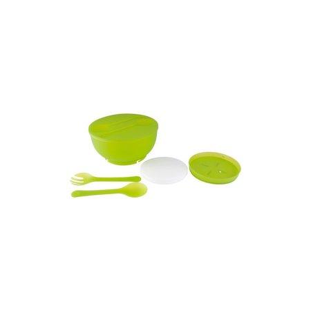 Present Time Present Time Salade Schaal met Koel Element – Plastic – Saladebak 26cm– Groen
