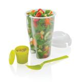 Banzaa Ronde Meeneem Saladebak met Vork Blauw – 19cm | Meeneembakje voor Onderweg in de Auto Trein of op het Werk | Saladebox To Go | Yoghurt en Cruesli Bakje