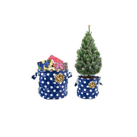 Present Time Present Time Kerstboomzak 2 Stuks Groot en Klein – Kerstboomhuls – Blauw met Witte Stippen