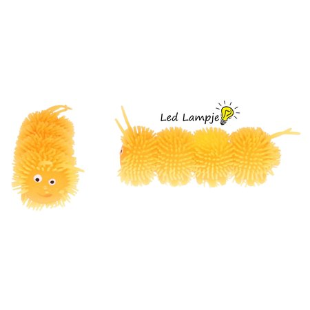 Banzaa Fluffy Squishy Worm Met led verlichting 10cm 2stuks Geel