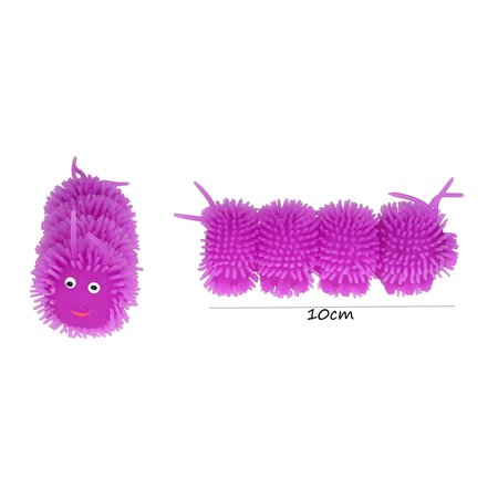 Banzaa Fluffy Squishy Worm Met led verlichting 10cm 2stuks Paars