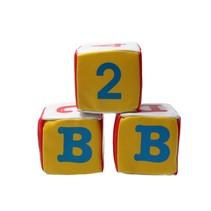 Banzaa Zachte letter en cijfer kubus voor baby's met rammel geluid set 3 stuks