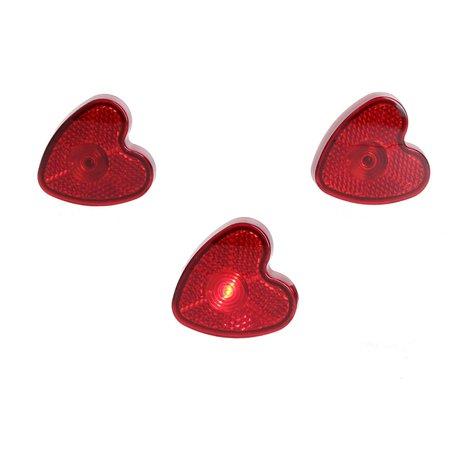 Banzaa Banzaa Hart led verlichting set 3 stuks met clip Rood