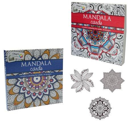 Craft Craft Sensations Kleurboek Mandala cards Colouring for Adults 2 Stuks