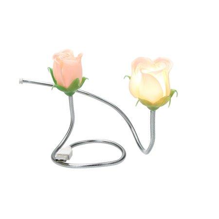 Present Time Silly Gifts USB Kabel met Roos en Lampje 2 Stuks – USB Lampje – Verlichting USB – Licht – Roze