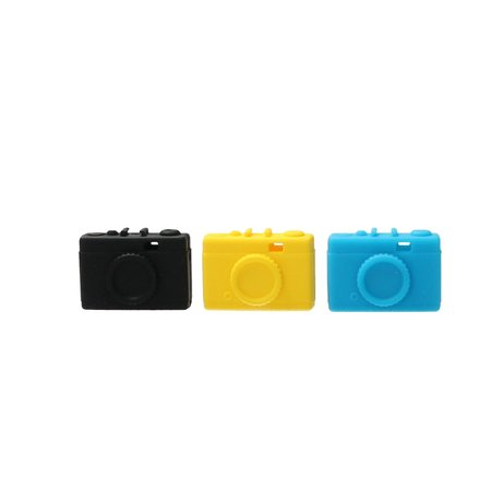 Present Time Present Time Wire Manager in de vorm van een Camera 2 Stuks – Oordopjes Ontknopen – Oortjes Uit elkaar Houden – Geel