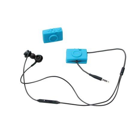 Present Time Present Time Wire Manager In de vorm van een Camera 2 Stuks – Oordopjes Ontknopen – Oortjes Uit elkaar Houden – Blauw